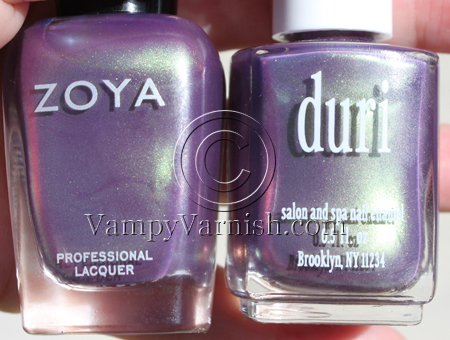 Zoya Adina on pinkie and ring and Duri Divas Only on middle and    Zoya Adina Dupe