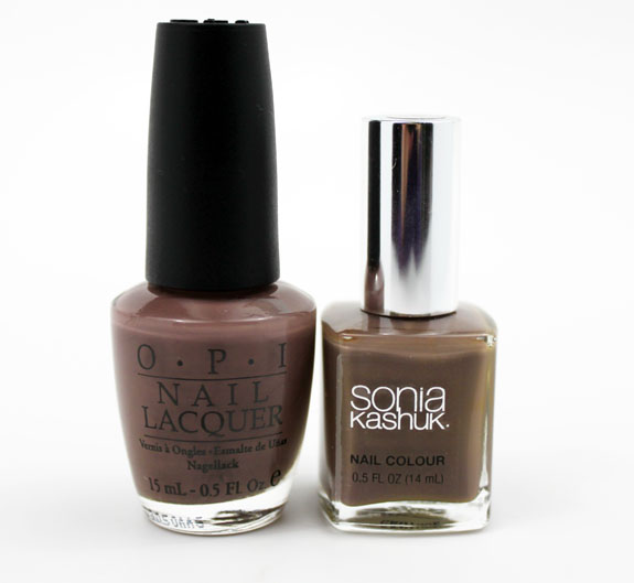 OPI Over The Taupe vs Sonia Kashuk Fatigued 2