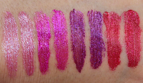 Milani Haute Flash Full Coverage Shimmer Lipgloss vs MAC Swatches