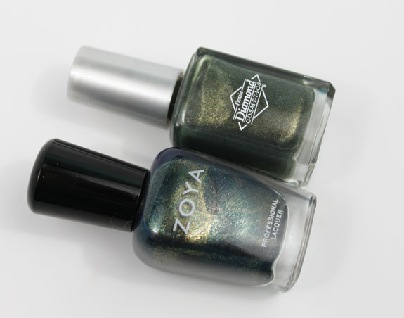 Zoya Edyta vs Diamond Cosmetics Never So Ever Green 2