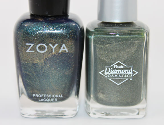 Zoya Edyta vs Diamond Cosmetics Never So Ever Green 3