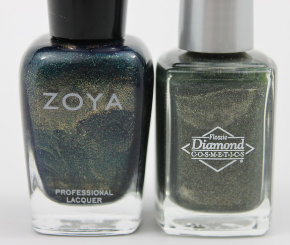 Zoya Edyta vs Diamond Cosmetics Never So Ever Green 4