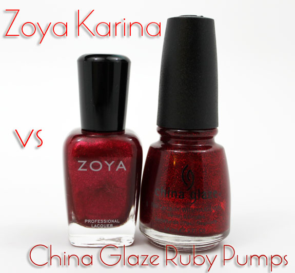 Zoya Karina vs China Glaze Ruby Pumps