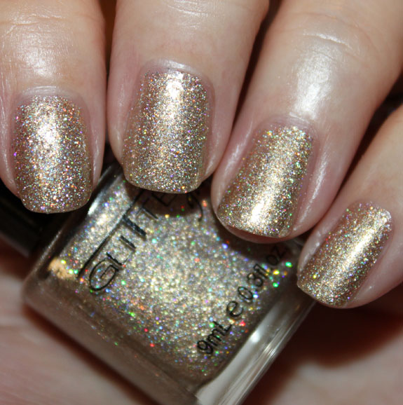 Glitter Gal White Gold Sparkle Glitter Gal 3D Holo & Sparkle Nail Polish Swatches, Photos & Review