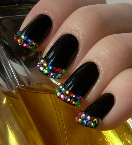 Strong Nails Black with Rhinestones Share Yourself Vol. 3