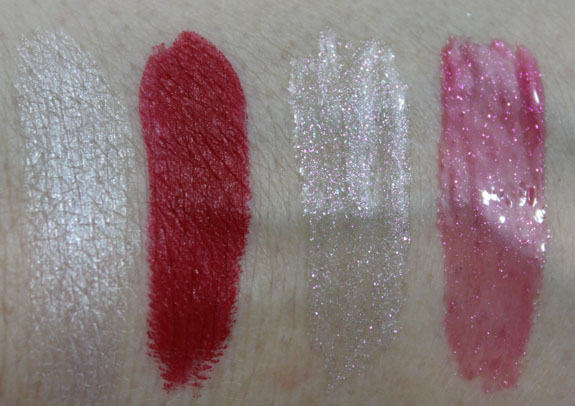 MAC Glitter and Ice Lipstick and Dazzleglass Swatches