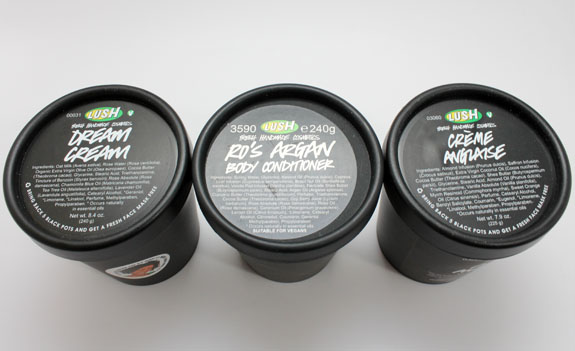 LUSH Body Lotions 2 LUSH Dream Cream, Creme Anglaise and Ros Argan Body Conditioner Have Your Skin Covered (Literally) for Winter!