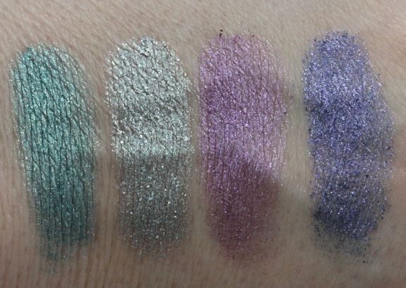 MAC Vera Crushed Metallic Pigment Butterfly Party Swatches