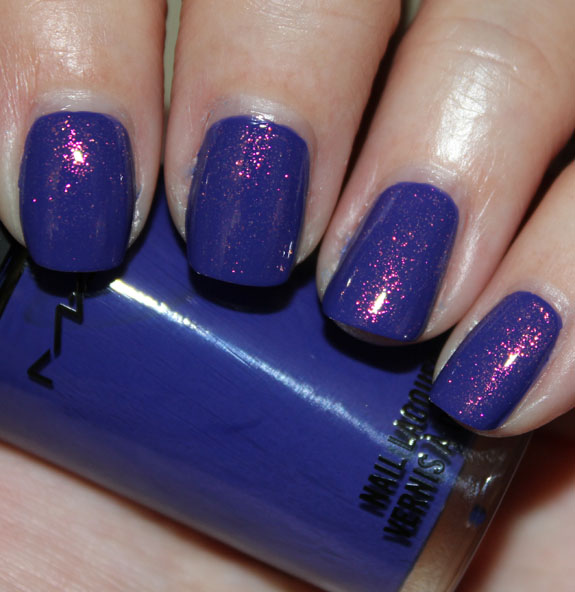 MAC Chenman Nail Lacquer Breezy Blue with CND Crimson Sparkle