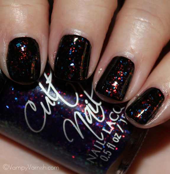 Cult Nails Seduction over black Cult Nails Divas & Drama Collection Swatches & Review