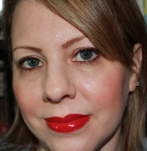 Me Wearing Sonia Kashuk Satin Luxe Lip Color in Classic Red