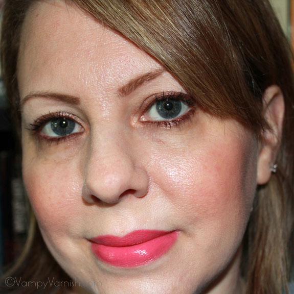 Me Wearing Sonia Kashuk Satin Luxe Lip Color in Pink Punch