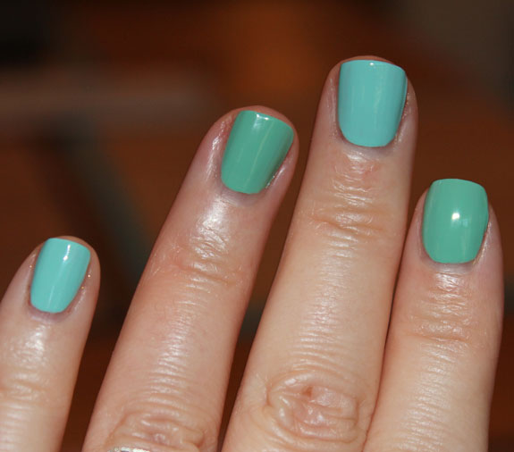Orly Gumdrop vs Ancient Jade Swatches 2