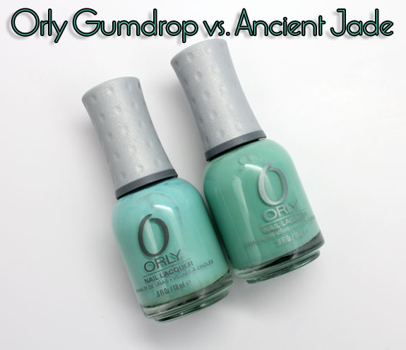 Orly Gumdrop vs Ancient Jade