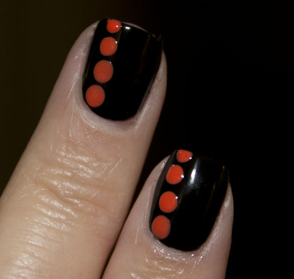 Black with Orange Dots 2