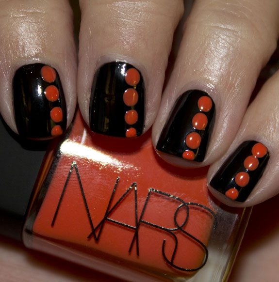 Black with Orange Dots
