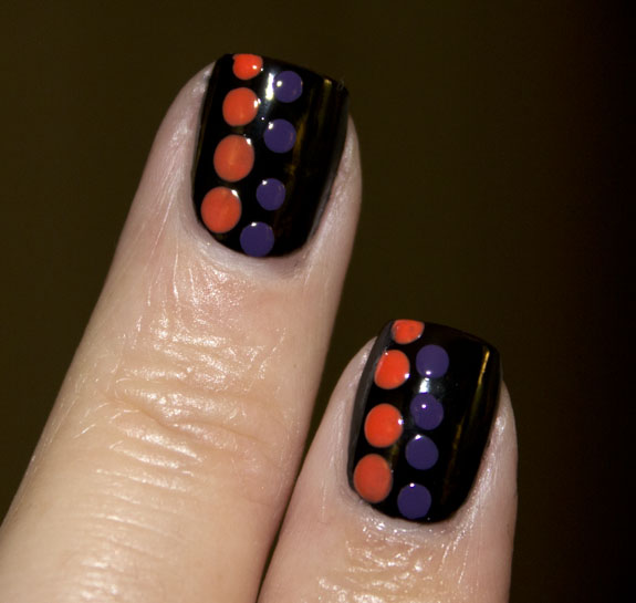 Black with Orange and Purple Dots 2