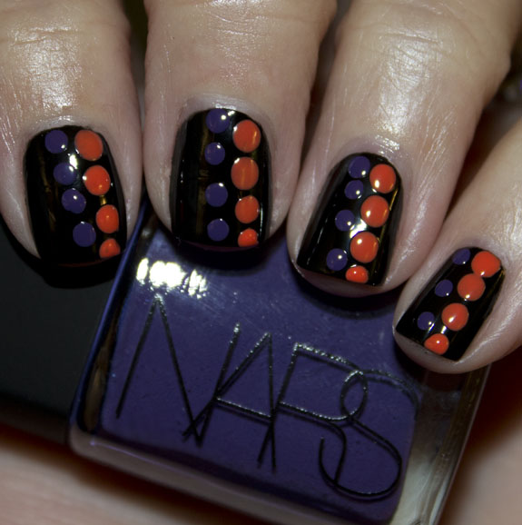 Black with Orange and Purple Dots