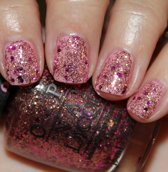 OPI You Glitter Be Good To Me over I Think In Pink