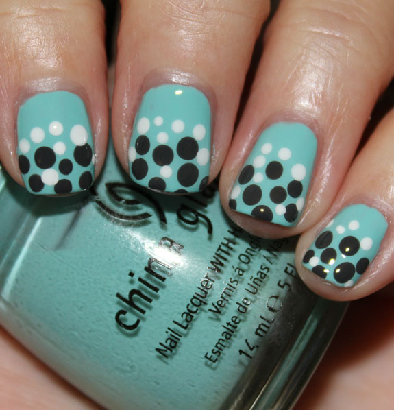China Glaze For Audrey Concrete Catwalk  Snow Dot Mani