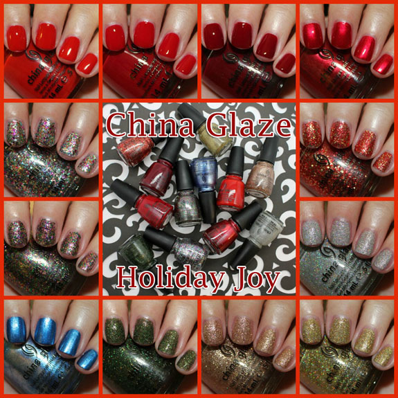 China Glaze Holiday Joy Collage copy China Glaze Holiday Joy for Holiday 2012 Swatches, Review & Giveaway!
