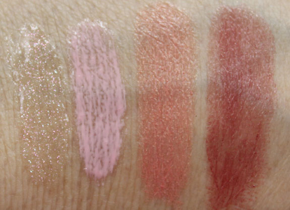MAC Glamour Daze Lipglass and Lipstick Swatches