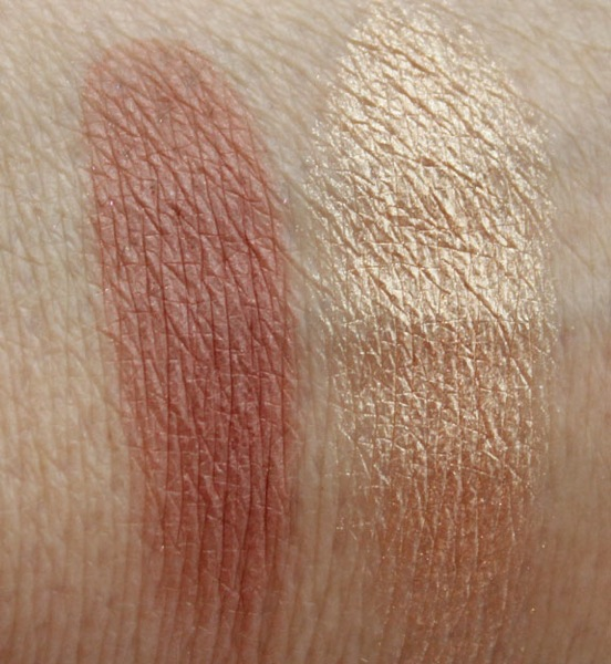 MAC Glamour Daze Powder Blush and Extra Dimension Skinfinish Swatches
