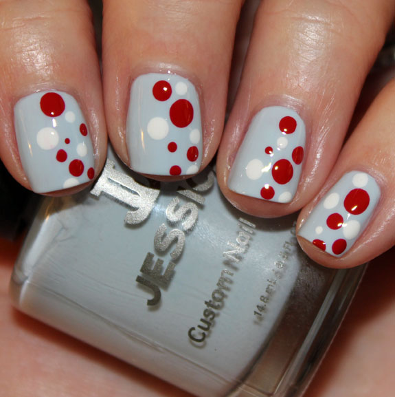 Holiday 2012 Dot Mani 2 Blue, Red & White Holiday Dot Mani