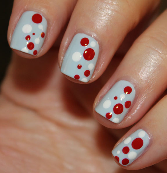 Holiday 2012 Dot Mani 3 Blue, Red & White Holiday Dot Mani