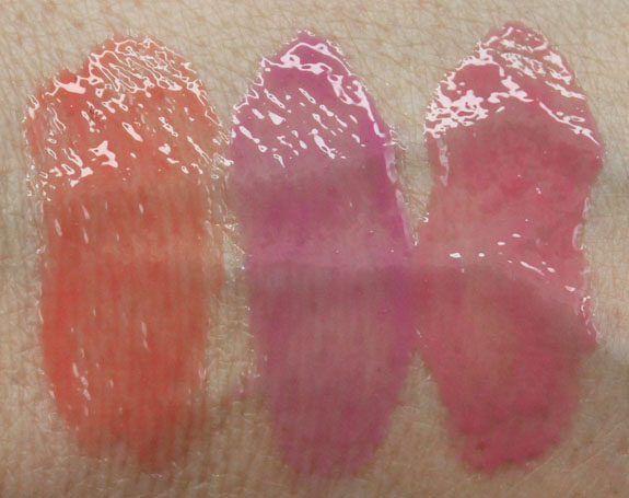 Benefit Ultra Plush Gloss Swatches Poutrageous, Kiss You, Lollibop