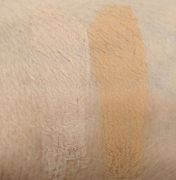 Too Faced Air Buffed BB Creme Snow Glow, Linen Glow Swatches
