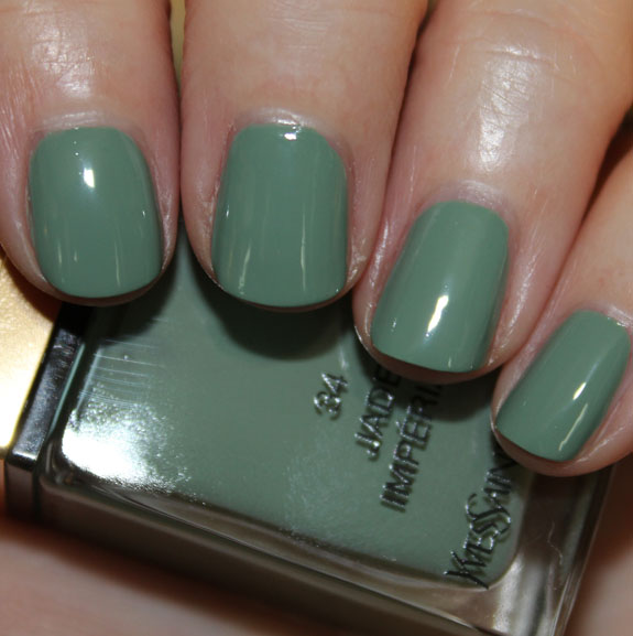 YSL La Laque Couture Jade Imperial Swatches & Review | Vampy Varnish
