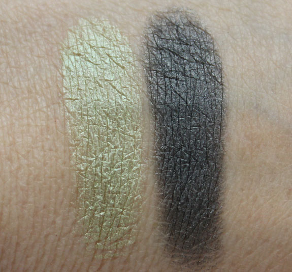 Bobbi Brown Metallic Eye Shadow in Mint and Shimmer Wash Eye Shadow in Gunmetal Swatches
