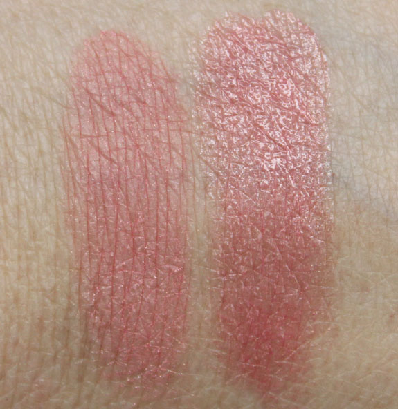 Estee Lauder Mad Men Collection Blush and Lipstick Swatches