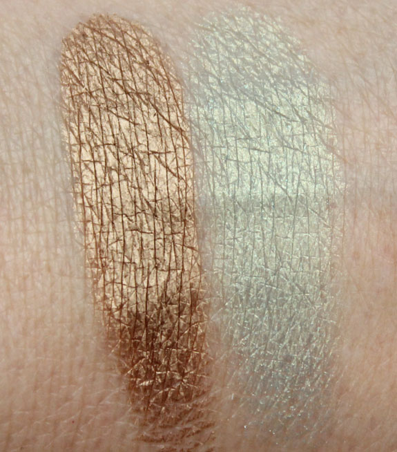 Pacifica Coconut Infused Mineral Eye Shadow Treasure and Mermaid Aqua Swatches