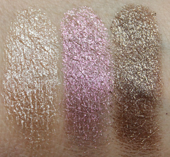 Urban Decay Moondust Eyeshadow Space Cowboy, Glitter Rock, Diamond Dog Swatches Dry