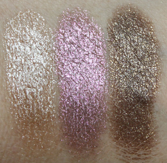 Urban Decay Moondust Eyeshadow Space Cowboy, Glitter Rock, Diamond Dog Swatches Wet