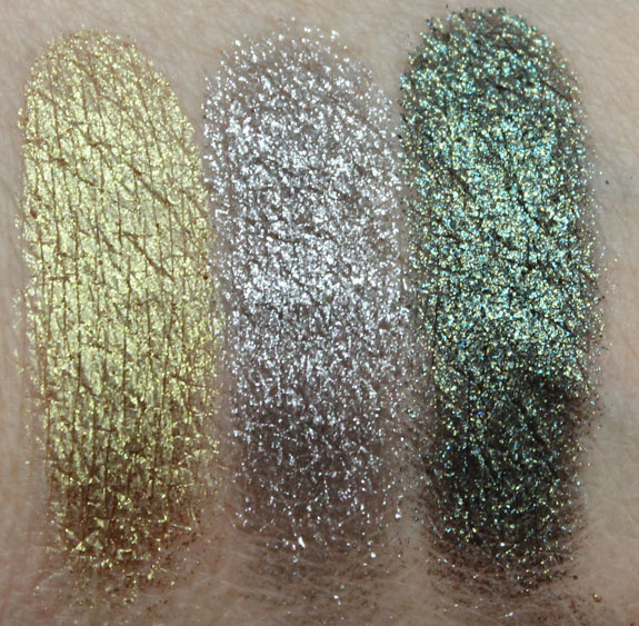 Urban Decay Moondust Eyeshadow Stargazer, Moonspoon, Zodiac Swatches Dry