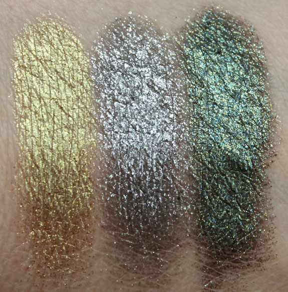 Urban Decay Moondust Eyeshadow Stargazer, Moonspoon, Zodiac Swatches Wet