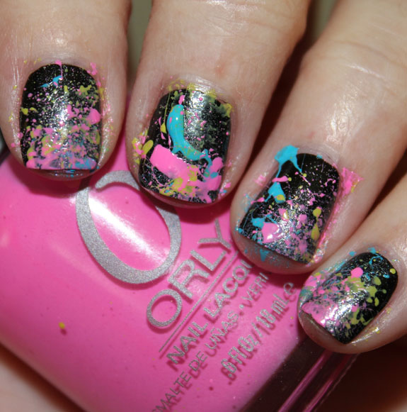 Neon 80's Paint Splatter Manicure Before Clean-Up