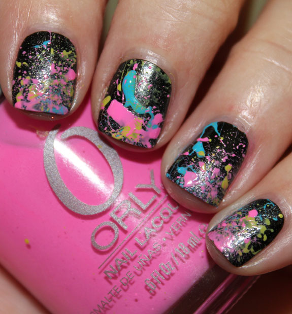 Neon 80's Paint Splatter Manicure Before Top Coat