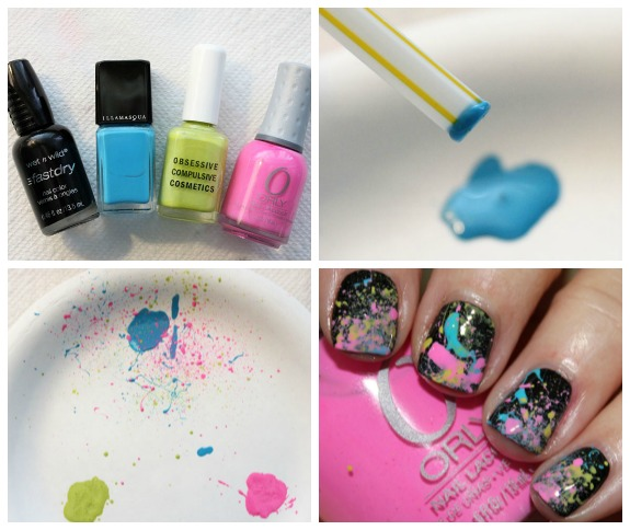 Neon 80's Paint Splatter Manicure Collage