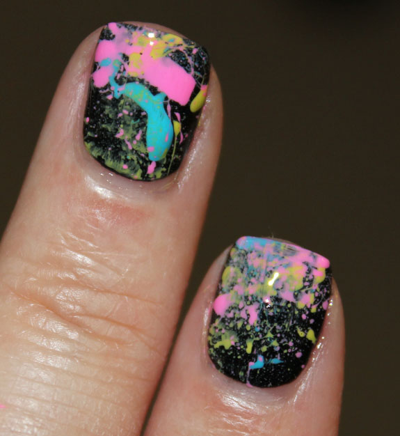 Neon 80's Paint Splatter Manicure Final-2