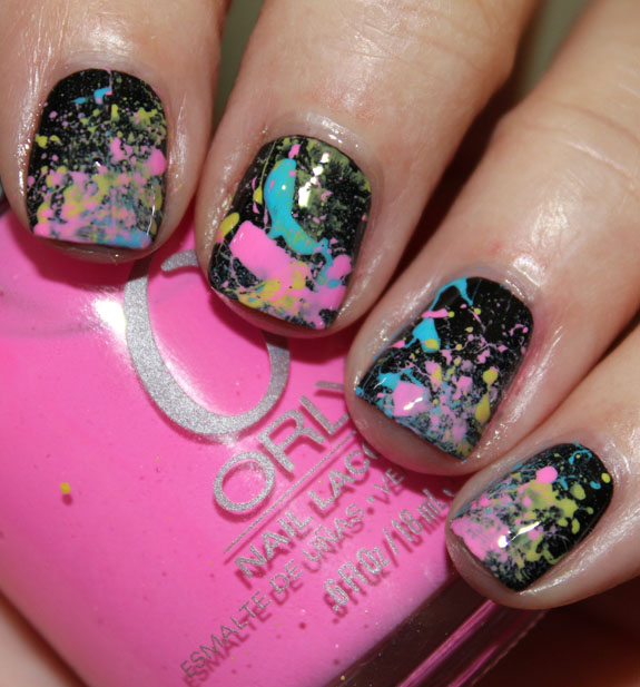 Neon 80's Paint Splatter Manicure Final