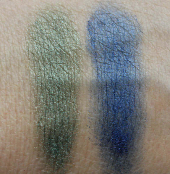 LORAC PRO Cream Eyeliner Sage and Cobalt Swatches