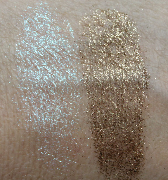 MAC Reflects Gold, Reflects Antique Gold Swatches