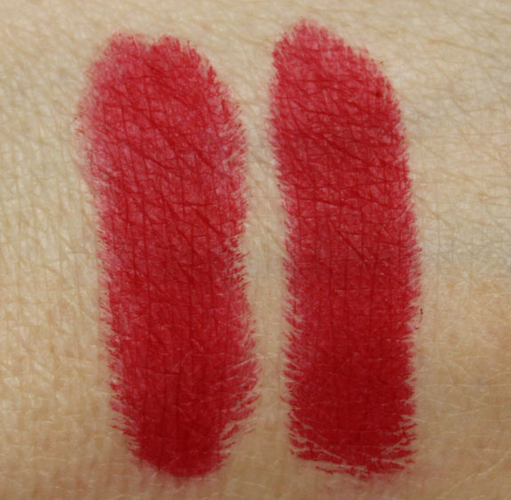 MAC Ruby Woo and RiRi Woo Swatch