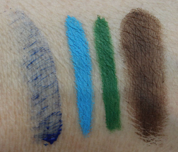 MAC Sama, Hi-Def Cyan, Landscape Green, Deep Dark Brunette Swatches