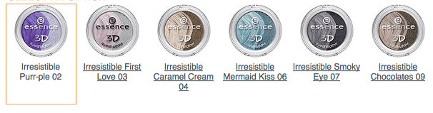 Essence 3D Eyeshadow Shades
