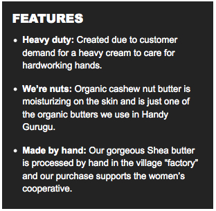 LUSH Handy Gurugu features
